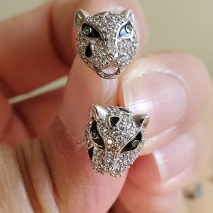 Panther cat stud earrings